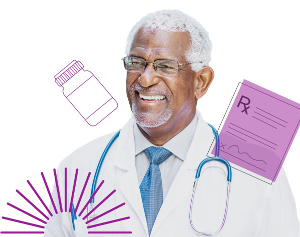 A male doctor smiles, surrounded by illustrations of pharmaceutical icons, including a pill bottle and prescription pad