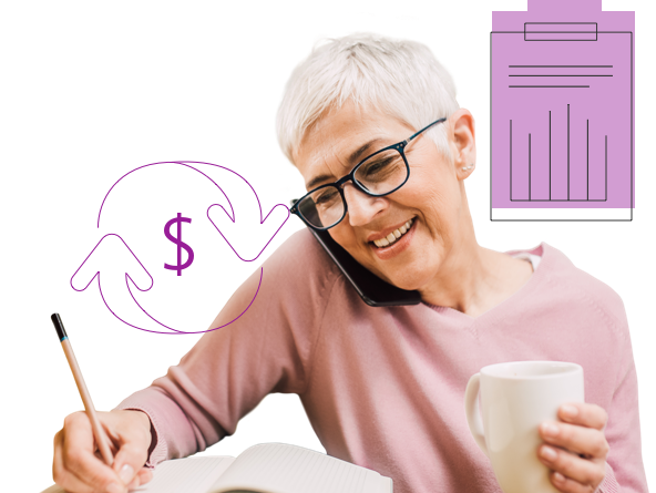 A woman smiles while talking on the phone, surrounded by illustrated icons representing savings and costs