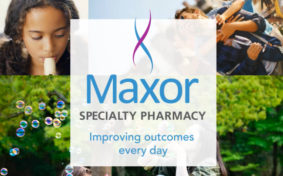 """Photos of people in various activities, with the words """"Maxor Specialty Pharmacy - Improving outcomes every day"""""""